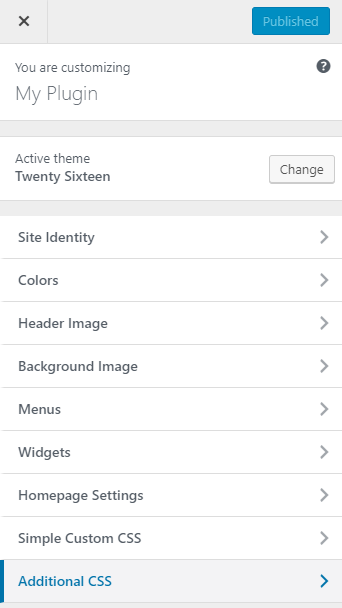 screenshot showing the additional css menu in the customizer
