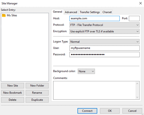 screenshot showing how to add a new site in filezilla ftp client