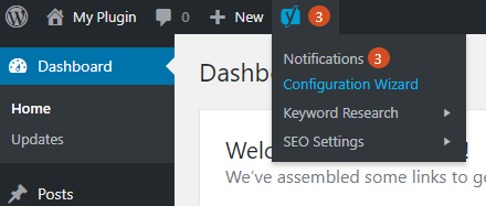 screenshot showing the yoast seo configuration wizard link in the wordpress admin toolbar
