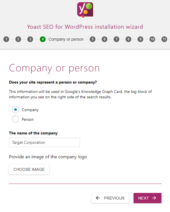 screenshot of the company section of the yoast seo configuration wizard