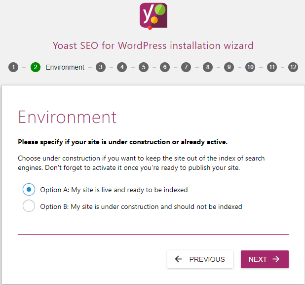 screenshot showing the environment settings of the yoast seo configuration wizard