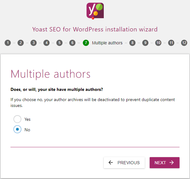 screenshot showing the multiple authors settings of the yoast seo configuration wizard