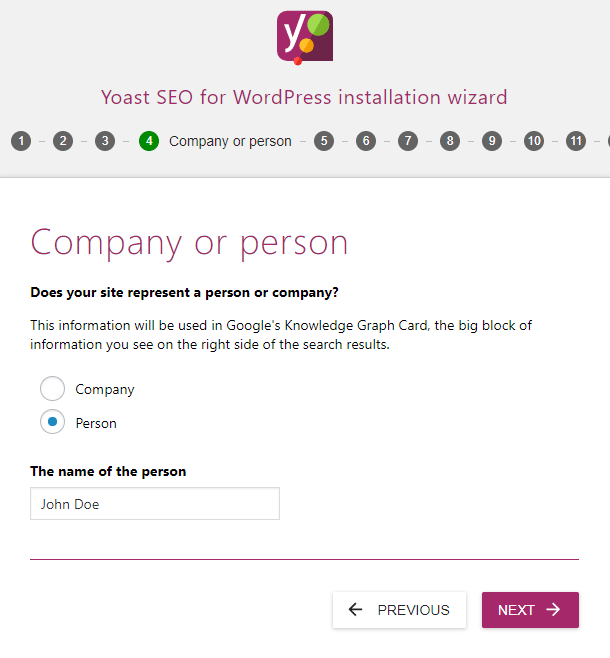 screenshot showing the person settings of the yoast seo configuration wizard