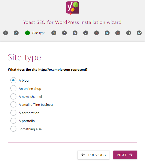 screenshot of the site type settings in the yoast seo configuration wizard