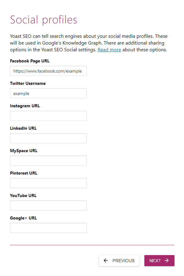 screenshot showing the social profiles settings of the yoast seo configuration wizard