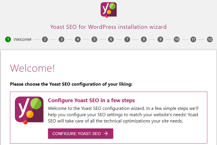 screenshot showing the welcome screen of the yoast seo configuration wizard