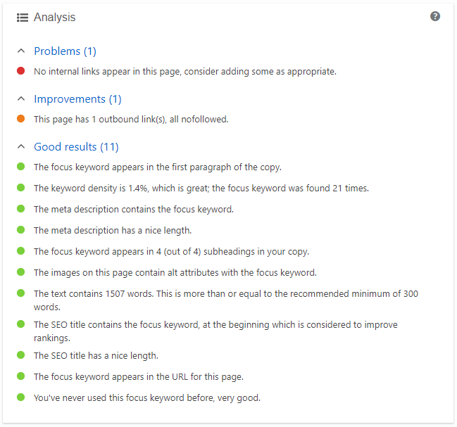 screenshot showing the content analysis section of the yoast seo meta box