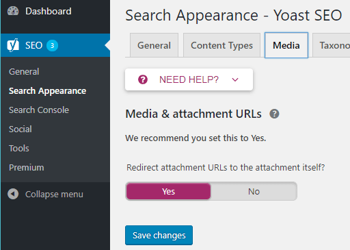 screenshot showing the media and attachment urls option in the yoast seo plugin