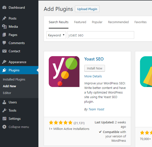 screenshot showing how to search for the yoast seo plugin and install it from the plugins menu of the wordpress admin dashboard