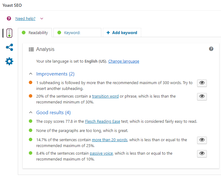 screenshot showing the readability analysis section of the yoast seo meta box