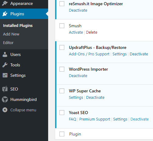 screenshot showing how to deactivate the yoast seo plugin in wordpress
