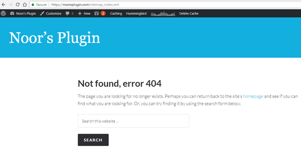 screenshot showing a 404 not found error of the sitemap after updating the yoast seo plugin