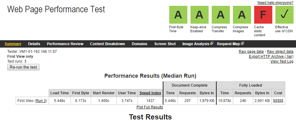 screenshot showing speed and performance test result of a website running on wp engine managed wordpress hosting