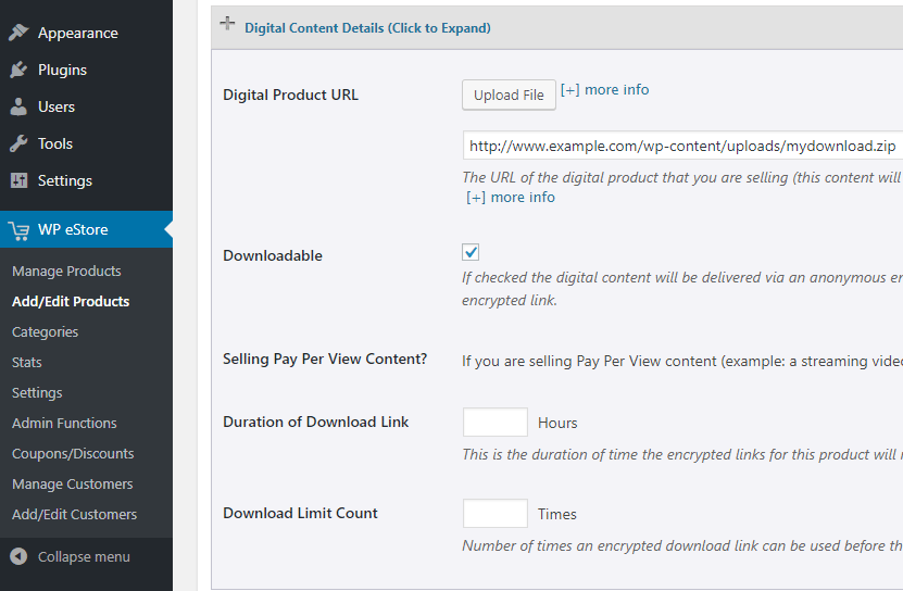 screenshot showing how to configure a downloadable file of a digital product in the wp estore plugin
