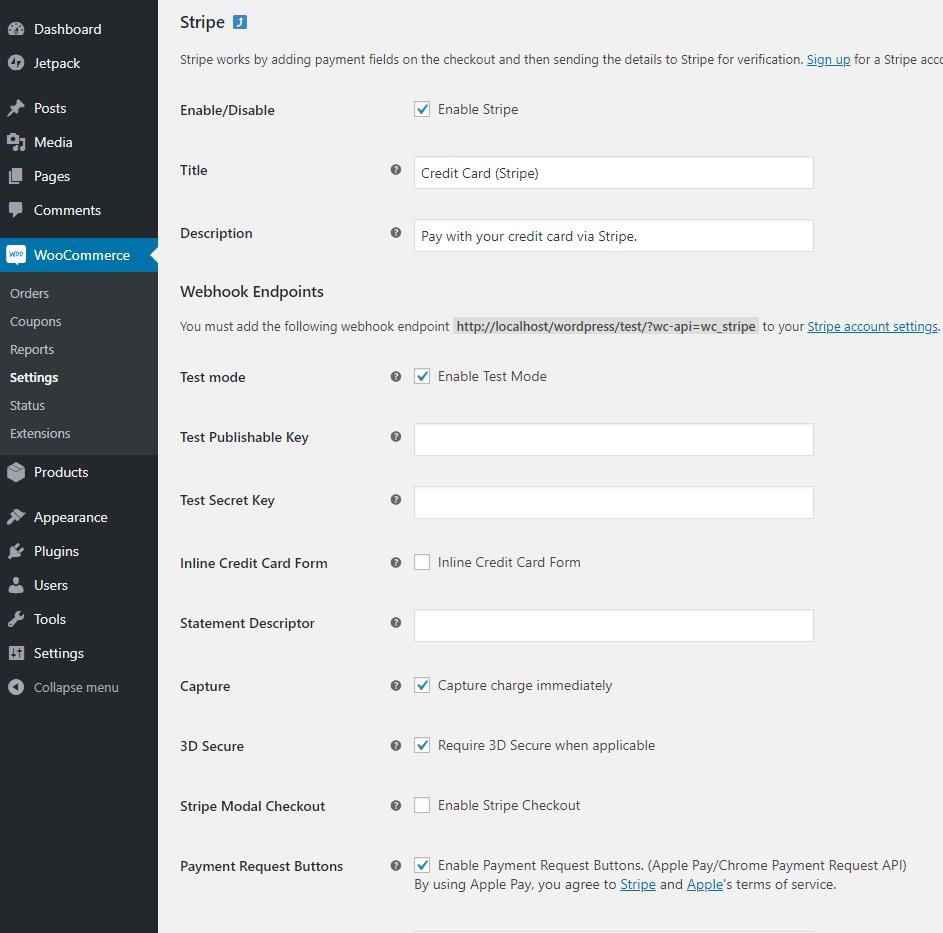 screenshot of WooCommerce Stripe payment gateway settings