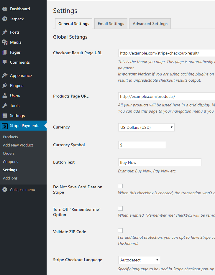 screenshot showing the general settings of the Stripe Payments plugin