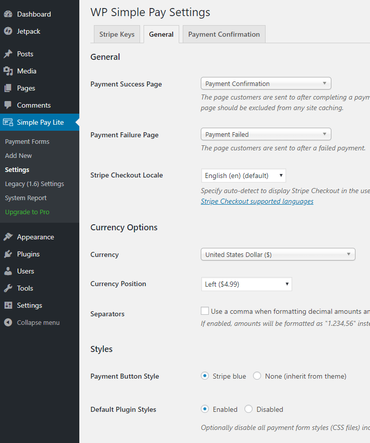 screenshot showing the general settings of the WP Simple Pay plugin