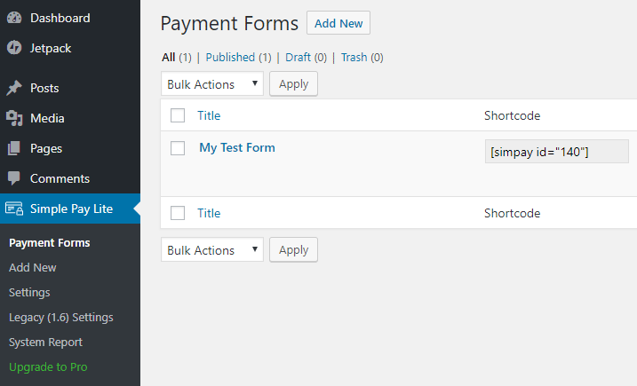 screenshot showing the payment forms menu in WP Simple Pay plugin