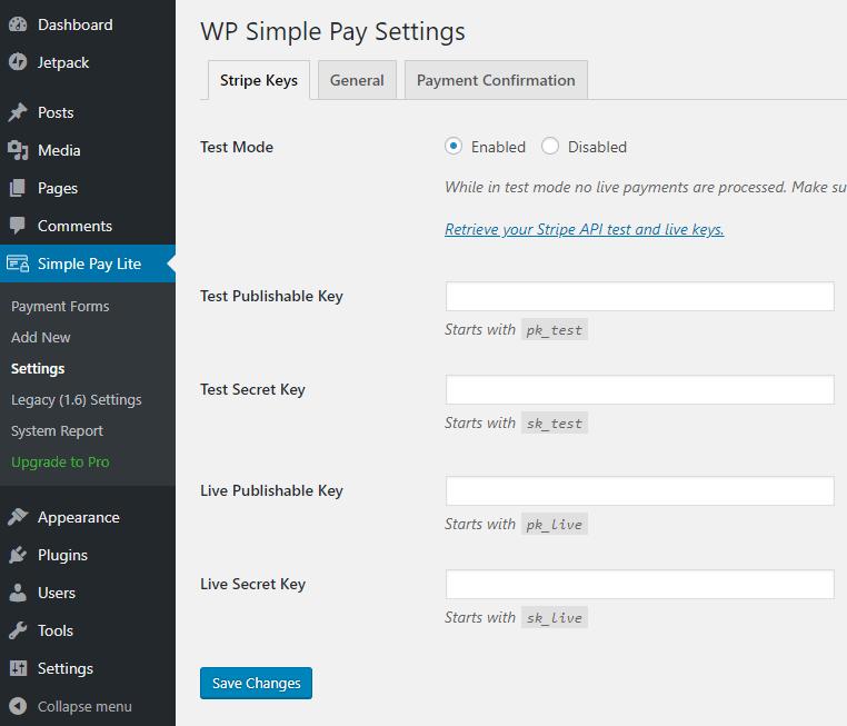 screenshot of WP Simple Pay Stripe keys settings