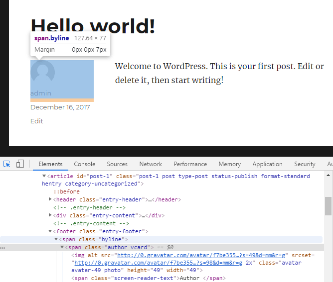 screenshot showing how to inspect the author element in a WordPress page using the Google Chrome developer tools
