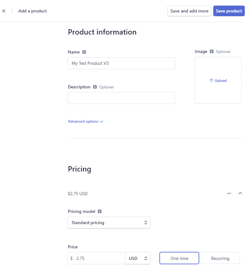 screenshot showing how to create a product in a stripe account