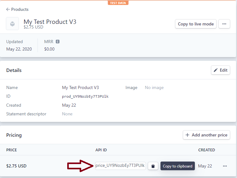 screenshot showing how to copy product price id from stripe account