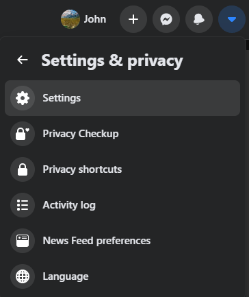 screenshot of facebook settings menu