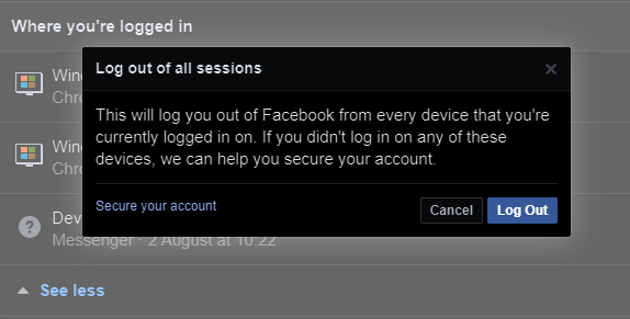 screenshot of facebook confirmation window to log out of all sessions
