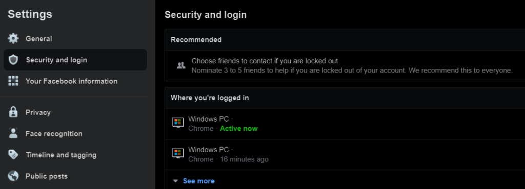 screenshot of facebook security and login menu
