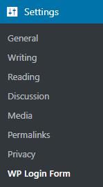 wp login form menu