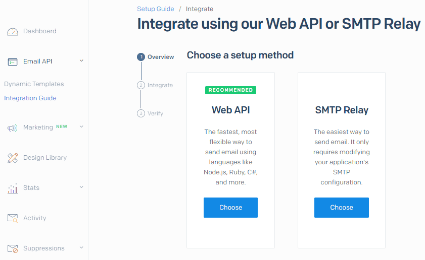 SendGrid SMTP Relay integration interface